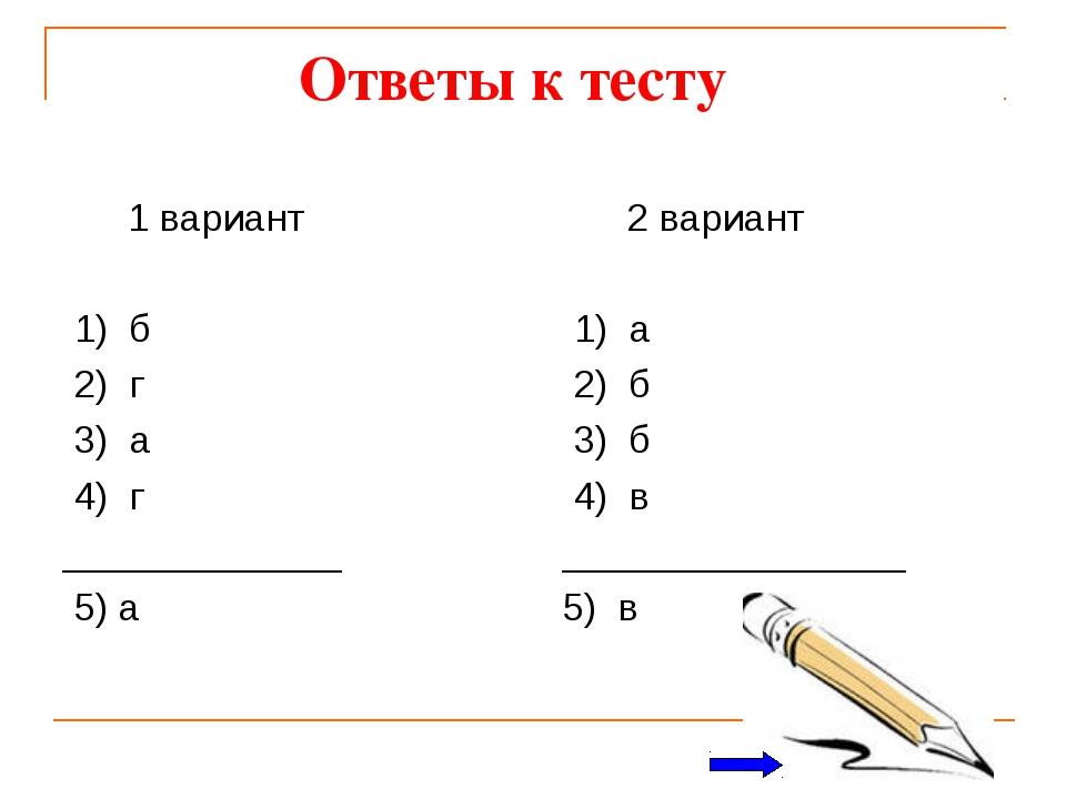 Ответы к тесту 1 вариант 1) б 2) г 3) а 4) г _____________ 5) а 2 вариант 1)...