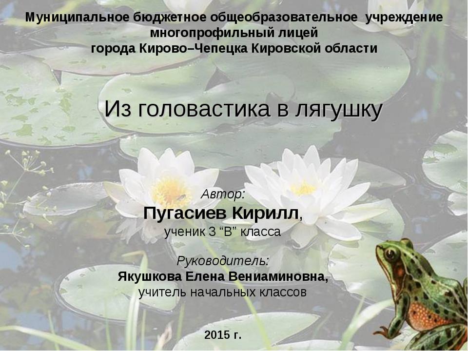 "Автор: Пугасиев Кирилл, ученик 3 ""В"" класса Руководитель: Якушкова Елена Вени..."