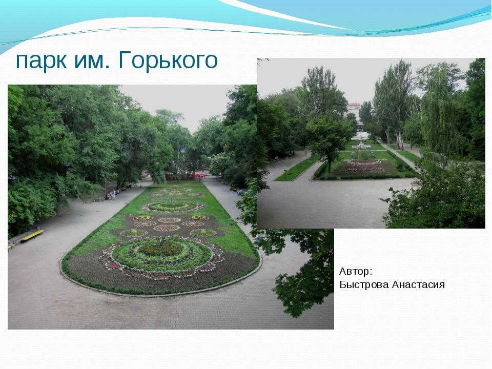 парк им. Горького Автор: Быстрова Анастасия