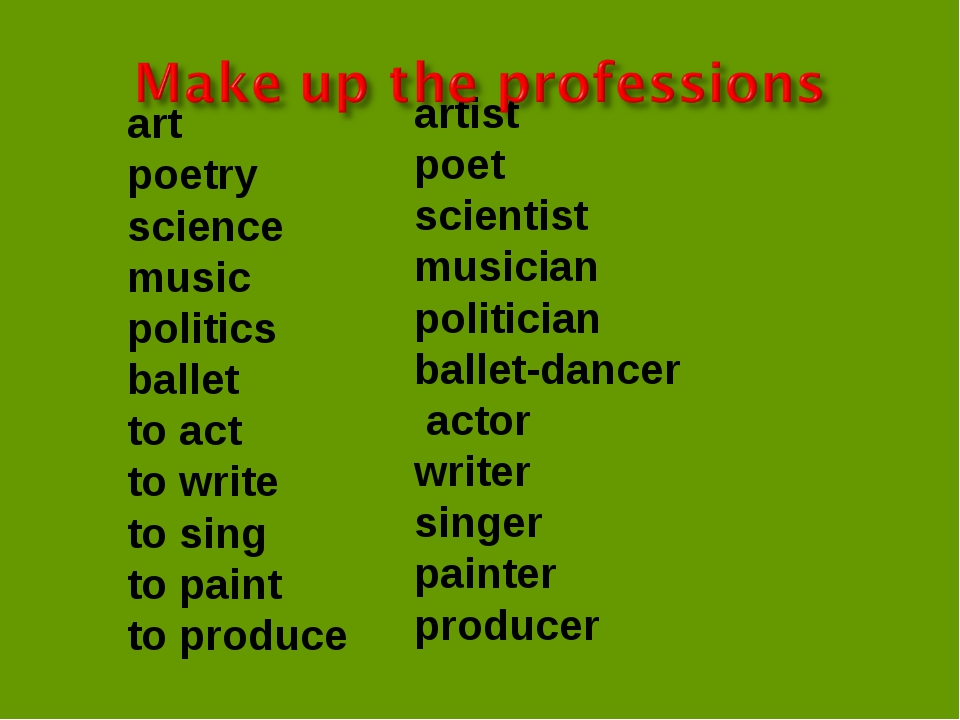 art poetry science music politics ballet to act to write to sing to paint to...