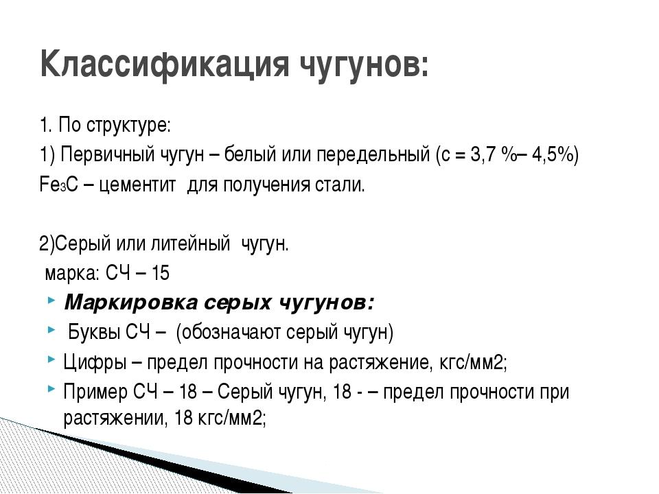Классификация чугунов: 1. По структуре: 1) Первичный чугун – белый или переде...