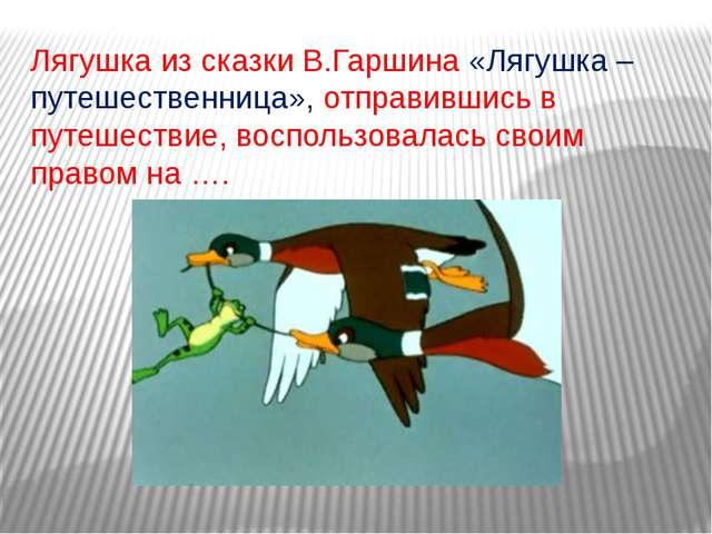 Лягушка из сказки В.Гаршина «Лягушка – путешественница», отправившись в путеш...