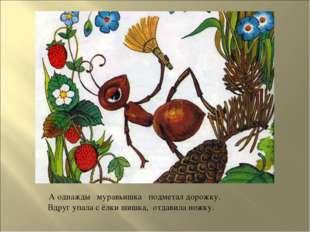 А однажды муравьишка подметал дорожку. Вдруг упала с ёлки шишка, отдавила но
