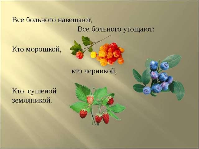 Все больного навещают, Все больного угощают: Кто морошкой, кточерникой, Кто...