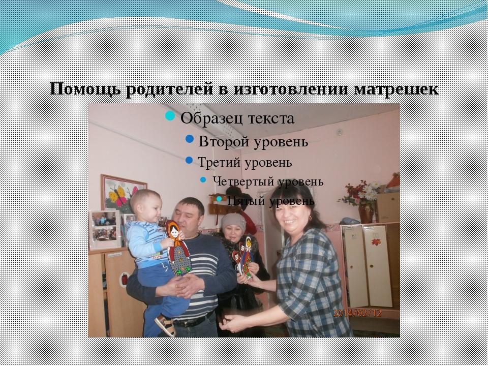 Помощь родителей в изготовлении матрешек