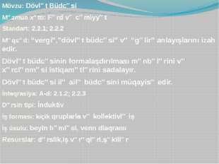 Mövzu: Dövlət Büdcəsi Məzmun xətti: Fərd və cəmiyyət Standart: 2.2.1; 2.2.2 M