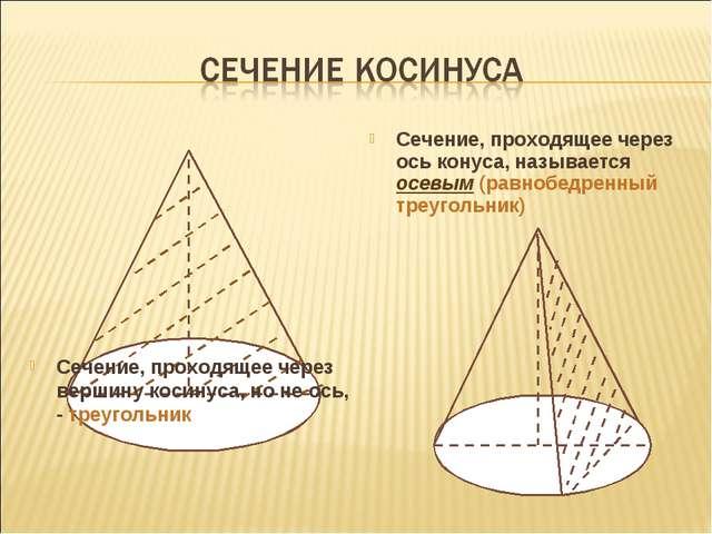 Сечение, проходящее через ось конуса, называется осевым (равнобедренный треуг...