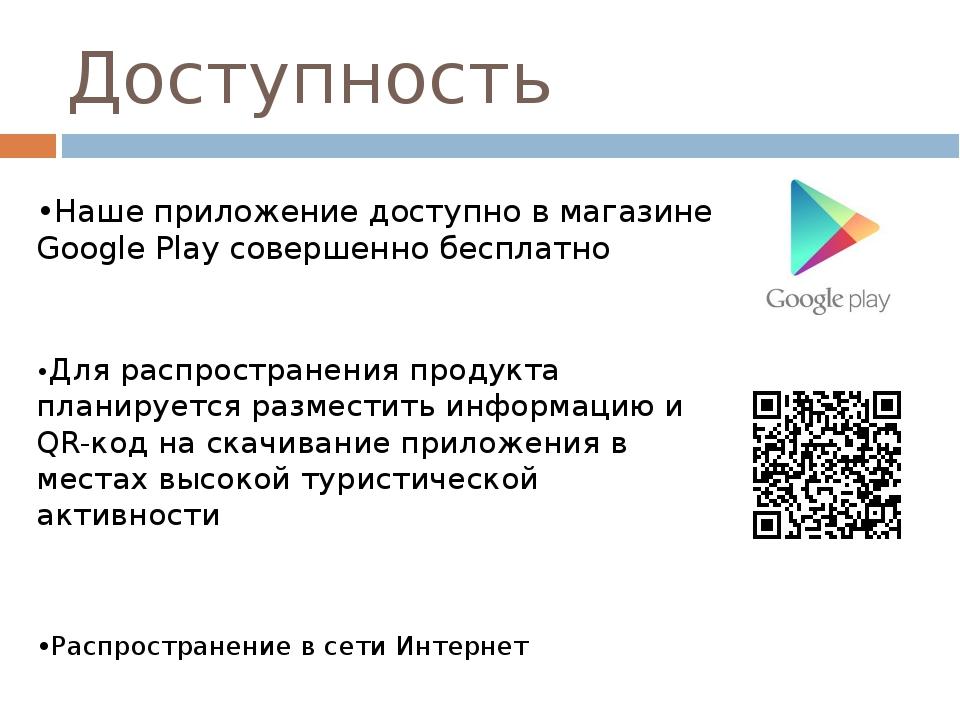 Доступность •Наше приложение доступно в магазине Google Play совершенно беспл...