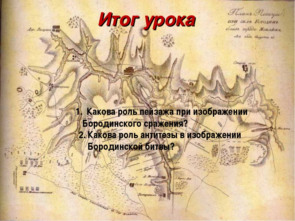 Итог урока Какова роль пейзажа при изображении Бородинского сражения? 2. Како...