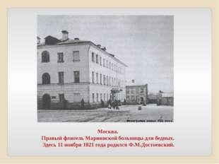 Москва. Правый флигель Мариинской больницы для бедных. Здесь 11 ноября 1821 г