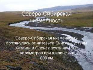Северо-Сибирская низменность Северо-Сибирская низменность протянулась от низо
