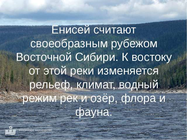 Енисей считают своеобразным рубежом Восточной Сибири. К востоку от этой реки...