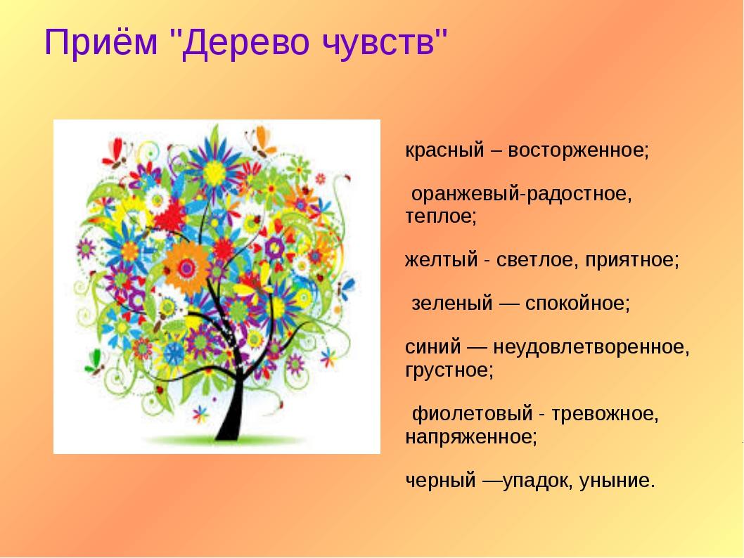 """Приём """"Дерево чувств"""" красный – восторженное; оранжевый-радостное, теплое; же..."""