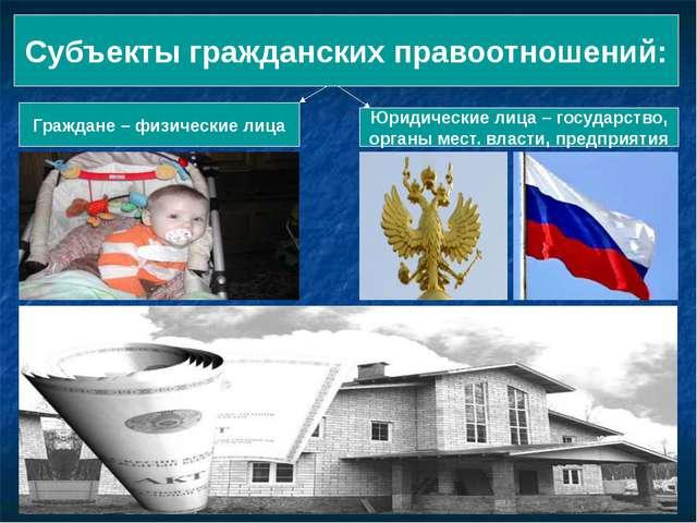 Субъекты гражданских правоотношений: Граждане – физические лица Юридические л...