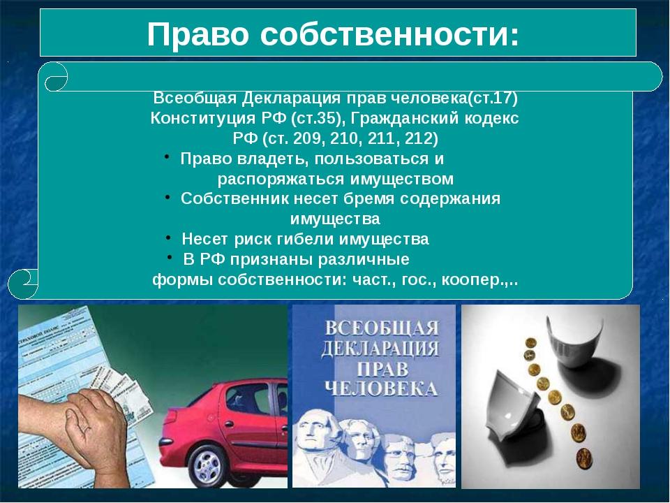 Право собственности: Всеобщая Декларация прав человека(ст.17) Конституция РФ...