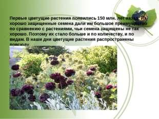 Первые цветущие растения появились 150 млн. лет назад. Их хорошо защищенные