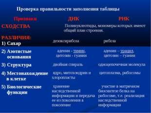Проверка правильности заполнения таблицы ПризнакиДНКРНК СХОДСТВА Полинукл