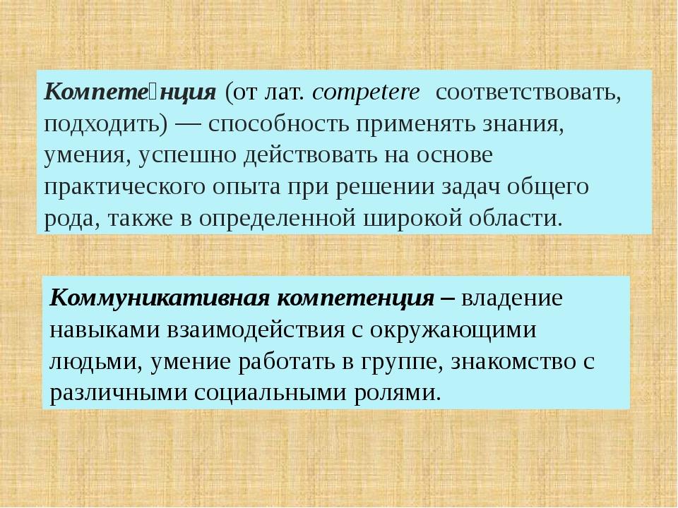 Компете́нция(отлат.competere соответствовать, подходить)— способность пр...