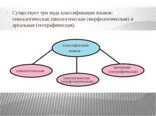 Существует три вида классификации языков: генеалогическая,типологическая (мо