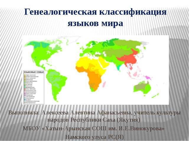 Генеалогическая классификация языков мира Выполнила: Алексеева Алевтина Афана...