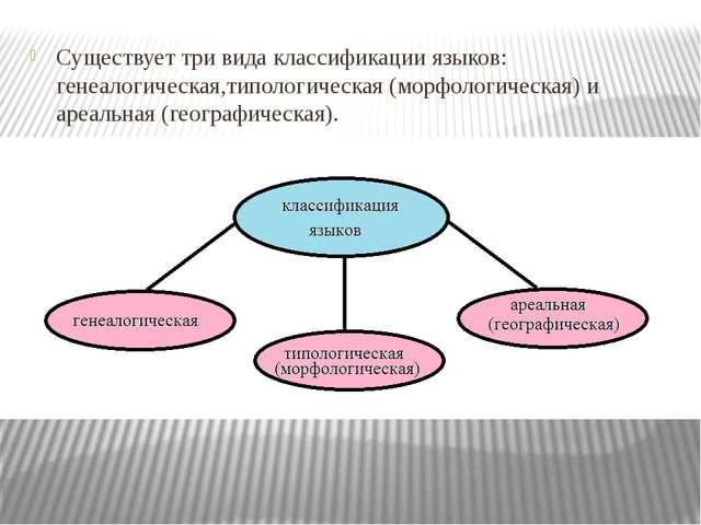 Существует три вида классификации языков: генеалогическая,типологическая (мо...