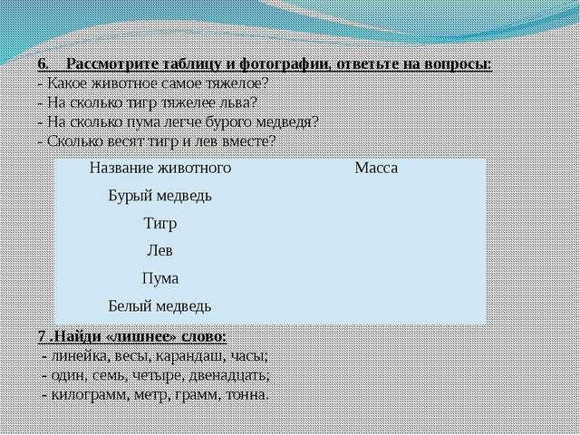 6. Рассмотрите таблицу и фотографии, ответьте на вопросы: - Какое животное са...
