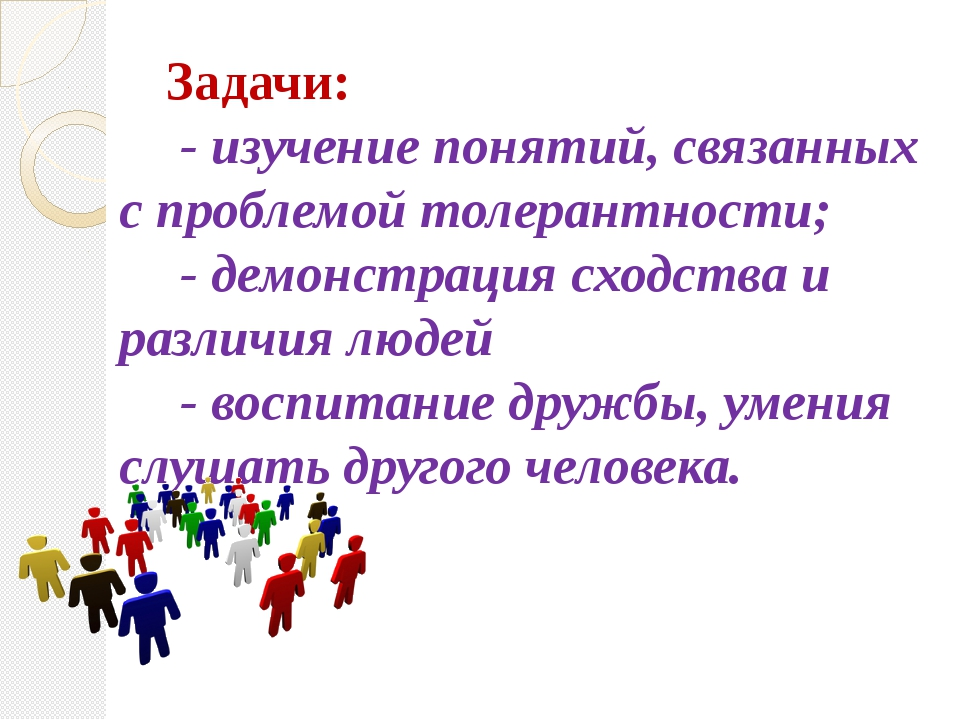 Задачи: - изучение понятий, связанных с проблемой толерантности; - демонстрац...