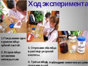 Ход эксперимента: 3. Опускаем оба яйца в раствор уксусной кислоты. 4. Третье