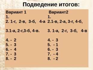 Подведение итогов: Вариант 1 1. 1-г, 2-в, 3-б,4-а 3.1-а, 2-г,3-б, 4-в. 4. - 2