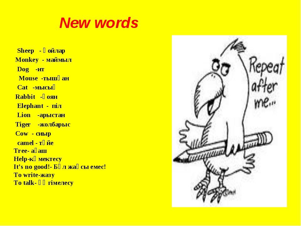 New words Sheep - қойлар Monkey - маймыл Dog -ит Mouse -тышқан Cat -мысық Rab...