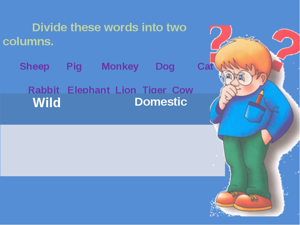Divide these words into two columns. Sheep Pig Monkey Dog Cat Rabbit Elephan...