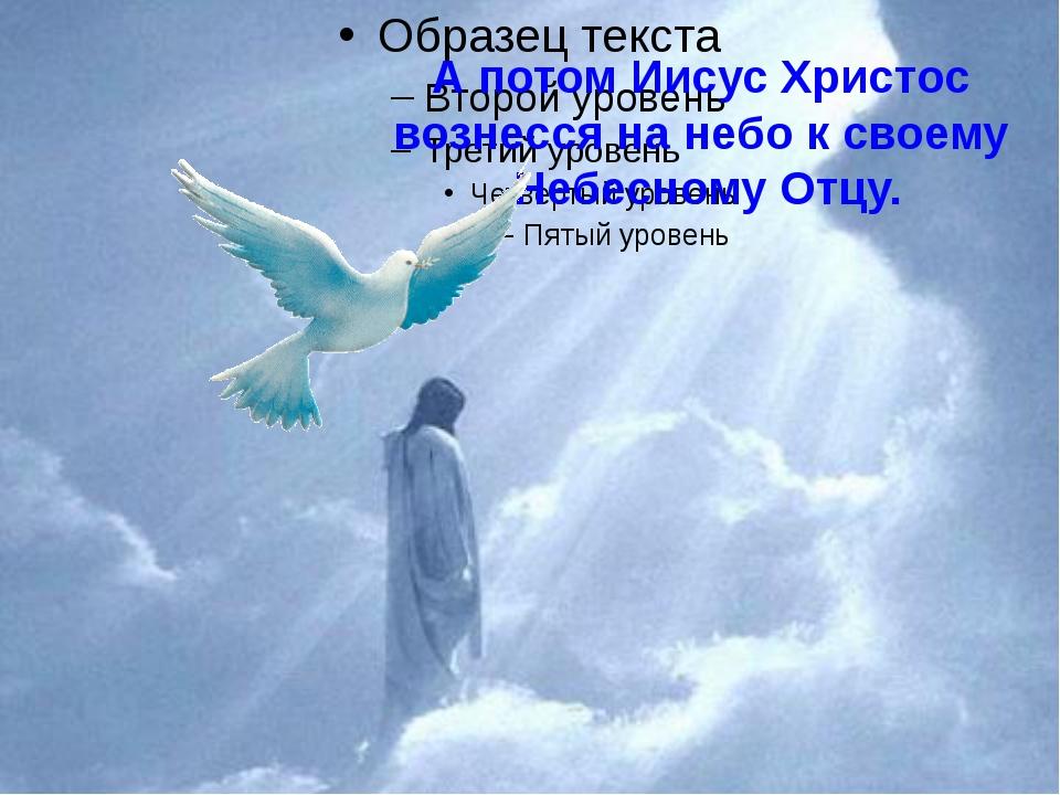 А потом Иисус Христос вознесся на небо к своему Небесному Отцу.