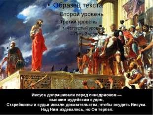 Иисуса допрашивали перед синедрионом — высшим иудейским судом. Старейшины и с