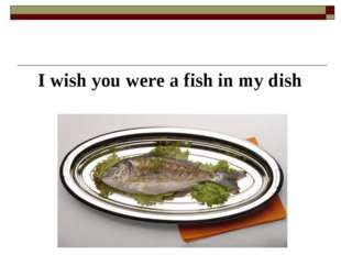 I wish you were a fish in my dish