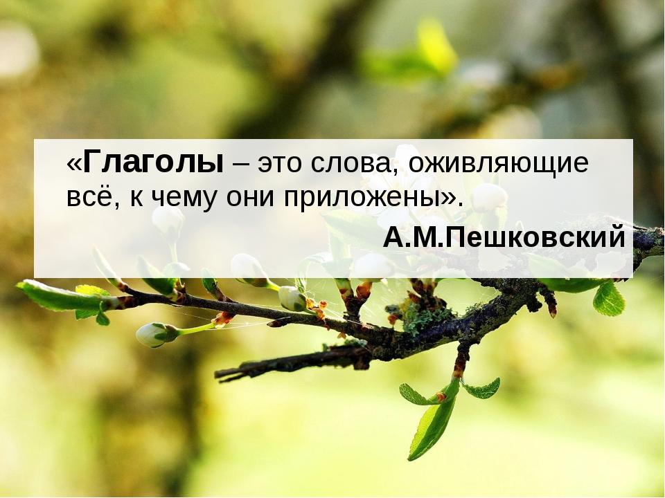 «Глаголы – это слова, оживляющие всё, к чему они приложены». А.М.Пешковский