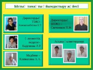Директордың ШІЖО – Свечников П.М. Директордың ТІЖО - Кажмаганбетова Б.Т. Мед