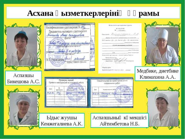 Аспазшы Бикешова А.С. Медбике, диетбике Климахина А.А. Аспазшының көмекшісі...