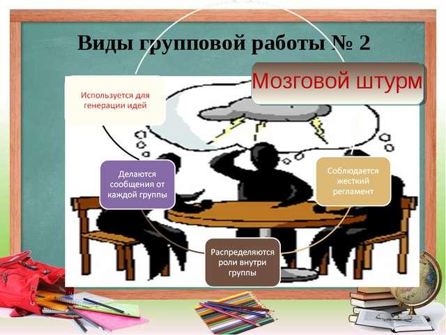 Виды групповой работы № 2 Мозговой штурм