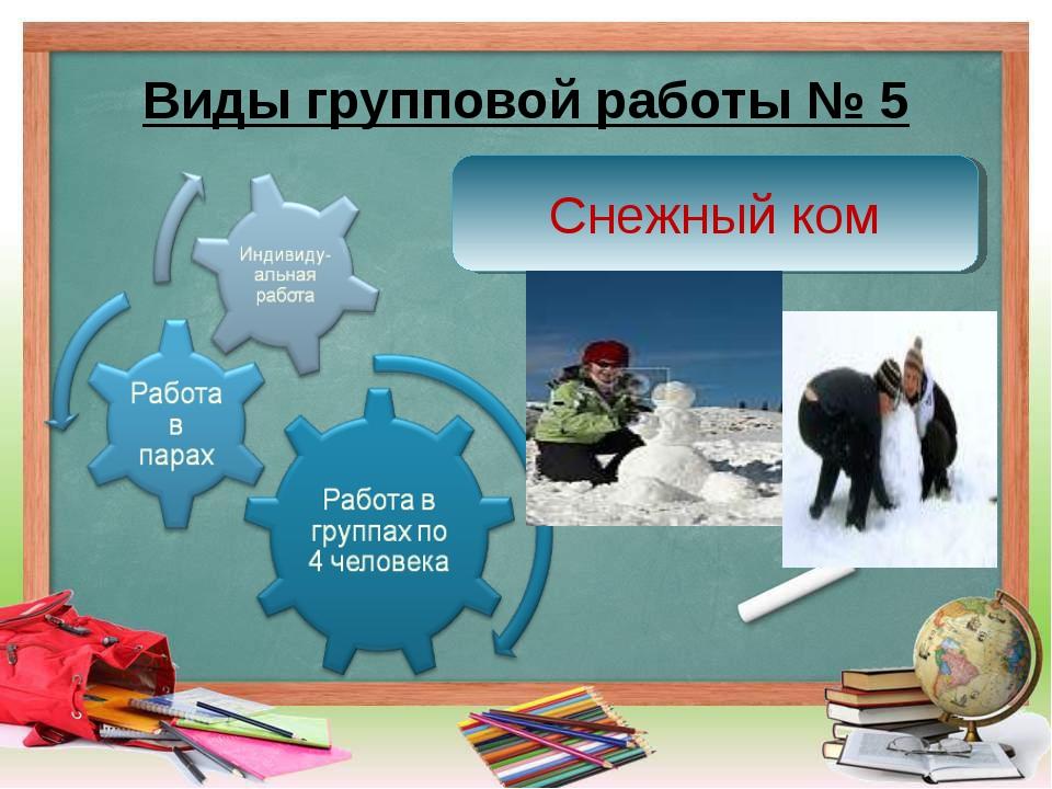 Виды групповой работы № 5 Снежный ком