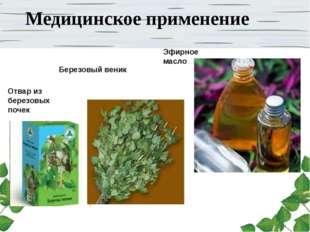 Медицинское применение Березовый веник Эфирное масло Отвар из березовых почек