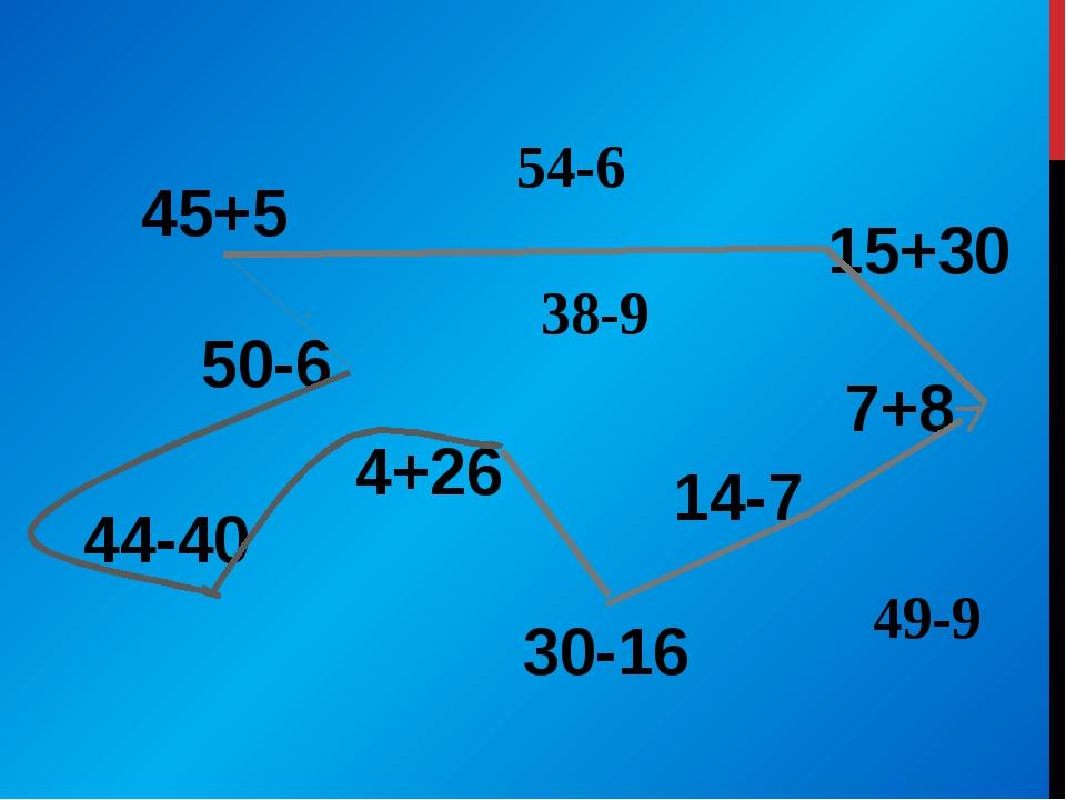 45+5 50-6 44-40 4+26 30-16 14-7 7+8 15+30 38-9 54-6 49-9