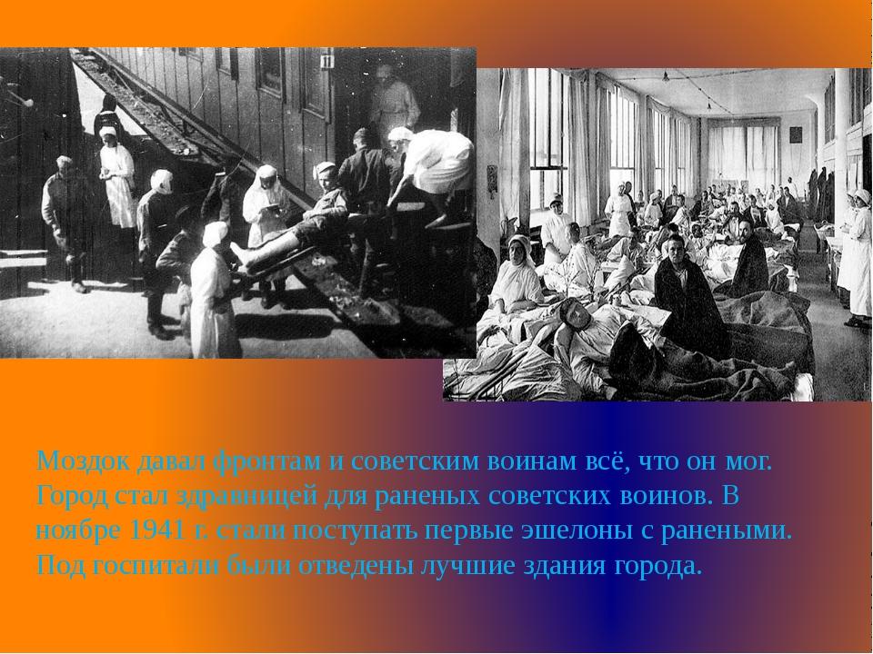 Моздок давал фронтам и советским воинам всё, что он мог. Город стал здравнице...