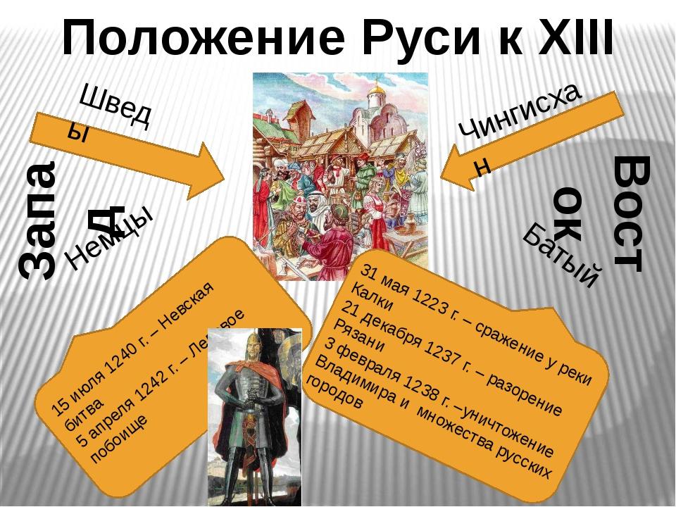 Положение Руси к XIII веку Шведы Немцы Запад Восток Чингисхан Батый 31 мая 12...