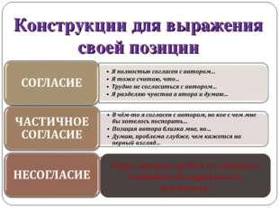 Конструкции для выражения своей позиции В большинстве текстов утверждаются оч