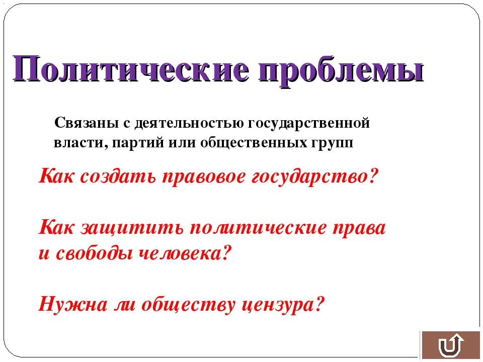 Политические проблемы Связаны с деятельностью государственной власти, партий...