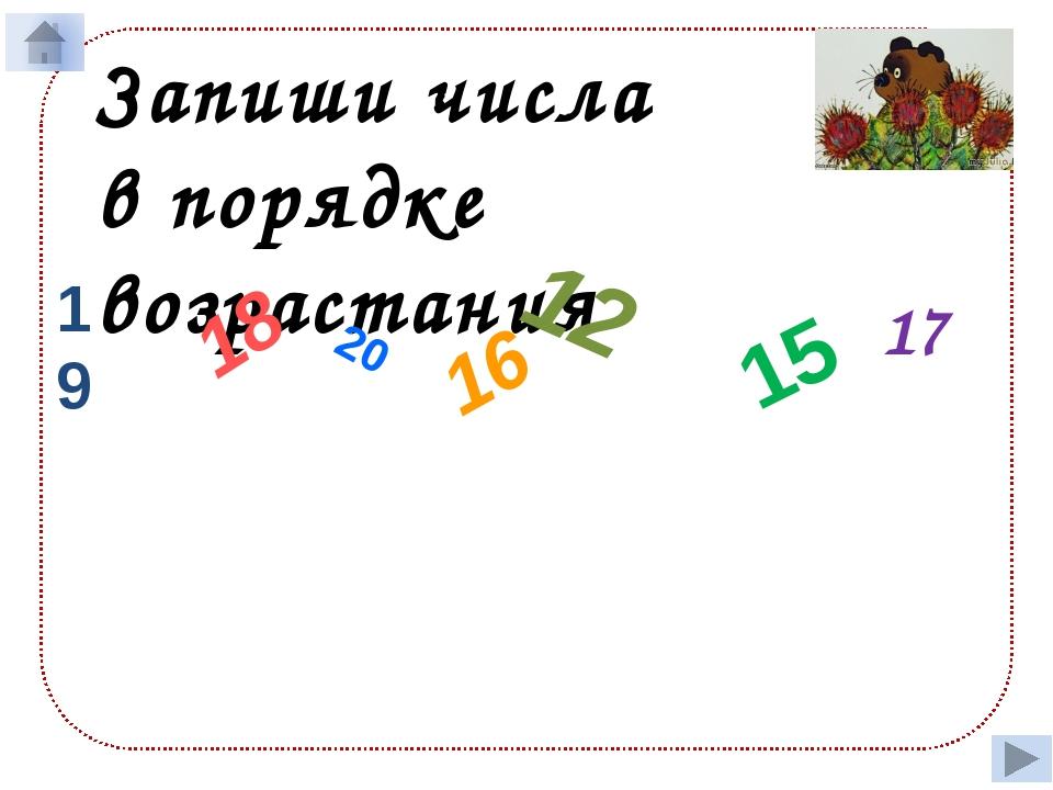 Запиши числа в порядке возрастания 19 18 20 16 12 15 17 12 15 16 17 18 19 20
