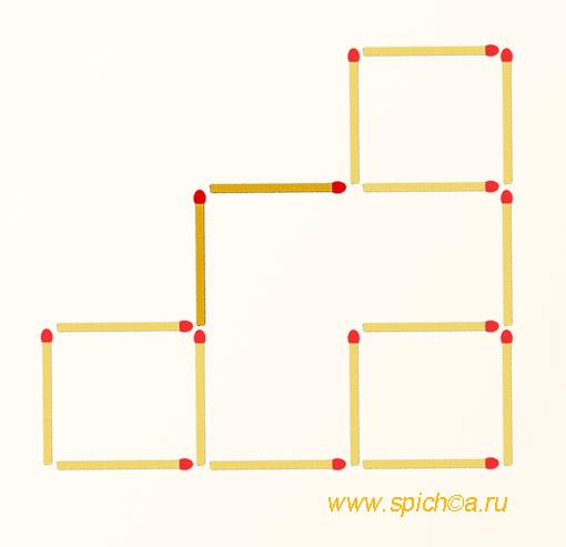 Добавить 2 спички - 4 квадрата - решение