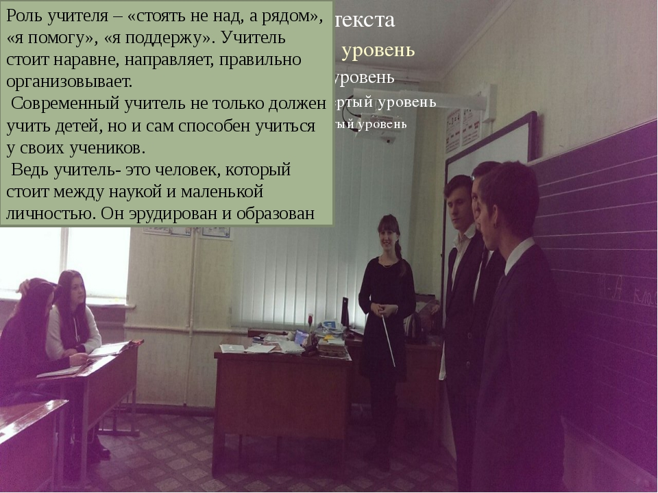 Роль учителя – «стоять не над, а рядом», «я помогу», «я поддержу». Учитель ст...