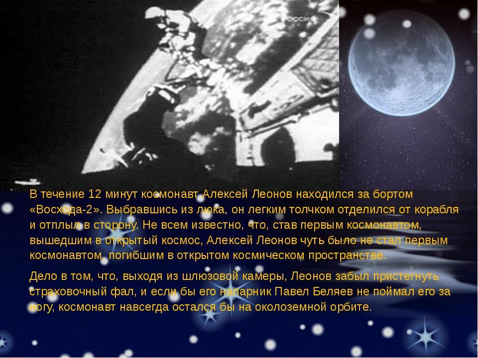В течение 12 минут космонавт Алексей Леонов находился за бортом «Восхода-2»....