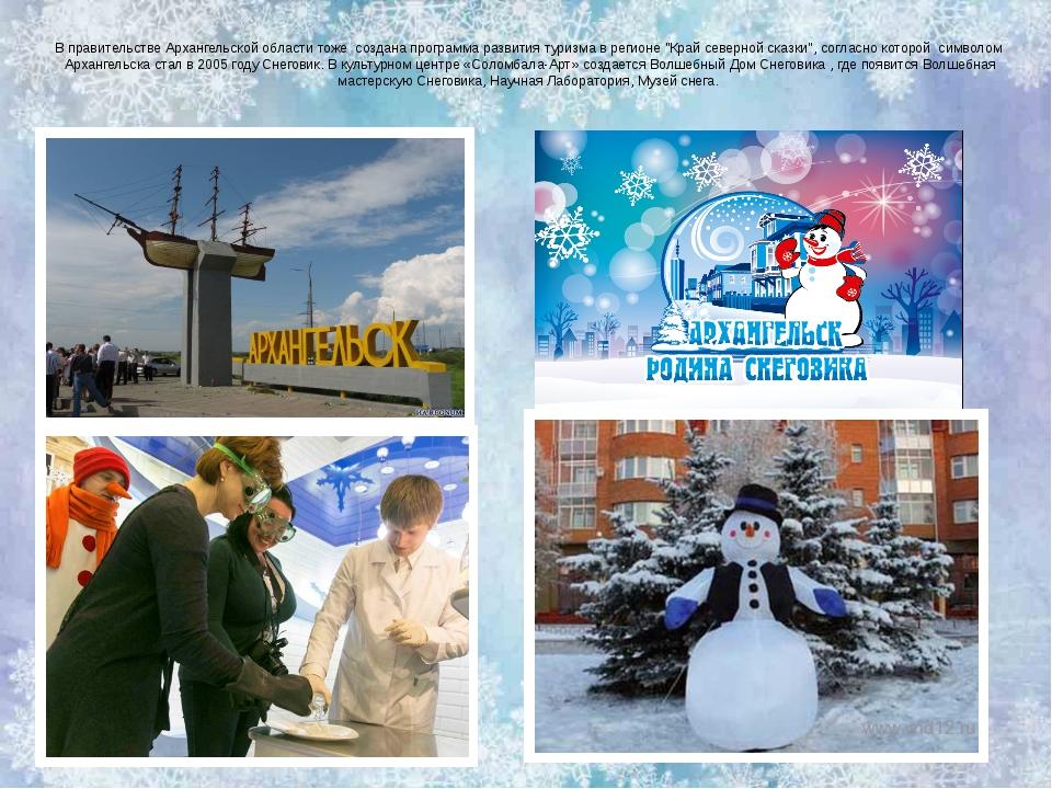 В правительстве Архангельской области тоже  создана программа развития туризм...